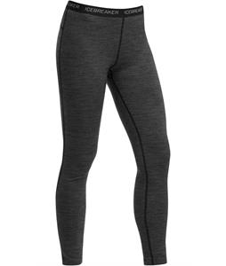 Icebreaker Oasis Leggings Stripe Baselayer Pants Black/Snow