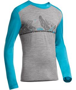 Icebreaker Oasis L/S Crewe Winter Alps Baselayer Top Metro Heather/Aegean