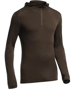 Icebreaker Oasis L/S Half Zip Hood Baselayer Top Chocolate Overdye