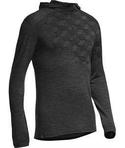 Icebreaker Oasis L/S Half Zip Hood Cubert Koch Snowflake Baselayer Top Black