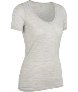 Icebreaker Siren Sweetheart Stripe Baselayer Top Blizzard Heather/Honeydew
