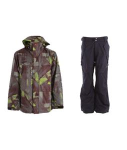 Quiksilver Last Mission Prints Jacket w/ Ride Phinney Insulated Pants