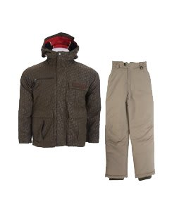 Bonfire Exchange Jacket Olive w/ White Sierra Action Insulated Ski Pants Smoke