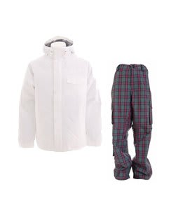 Burton Bad Moon Rising Jacket Bright White w/ Burton Apres Pants Sky Apres Plaid