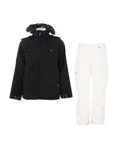 Burton Captain Tripps Jacket True Black w/ Burton Cargo Pants Bright White