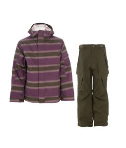 Burton Cosmic Delight Jacket Mocha Faded Stripe Print w/ Sessions Zoom Pants Fatigue Green