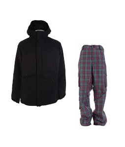 Burton Defender Jacket True Black w/ Burton Apres Pants Sky Apres Plaid