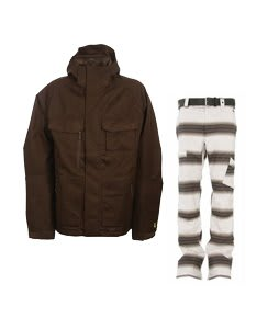 Burton Gmp ALS Jacket Brown Jacquard w/ Burton Cosmic Delight Pants Bright White Faded Stripe