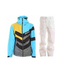 Grenade Chevron Jacket Sullen/Blue w/ Burton Ronin Cargo Snowboard Pant Bright White