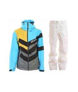 Grenade Chevron Jacket Sullen/Blue w/ Burton Ronin Cargo Snowboard Pant Bright White