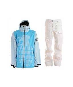 Grenade Exploiter Jacket Blue w/ Burton Ronin Cargo Snowboard Pant Bright White
