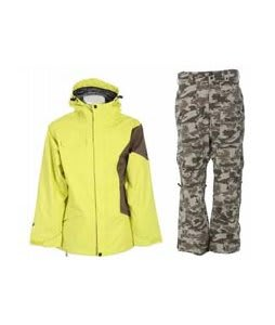 Ride Gatewood Jacket Lime w/ Burton Vent Pants Shadow Camo Print