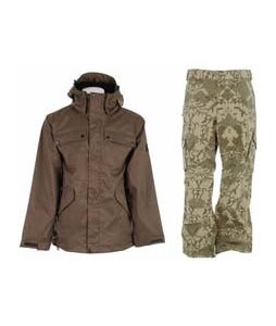 Ride Pioneer 3 In 1 Jacket Canteen w/ Burton Cargo Pants Mosaic Martini