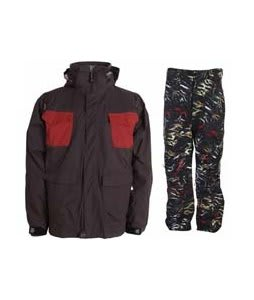 Sessions Combaticon Jacket Brown/Chimayo w/ Burton Vent Pants True Black Fruity Tiger Print