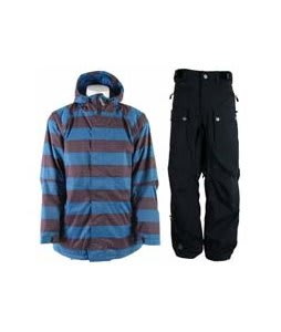 Sessions Kreuger Heather Stripe Jacket Blue Heather Stripe w/ Sessions Tinker Pants Black Magic