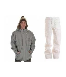 Sessions Premise Jacket Silver w/ Burton Ronin Cargo Snowboard Pant Bright White
