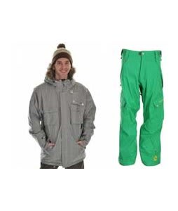 Sessions Premise Jacket Silver w/ Sessions Gridlock Pants Turf Green