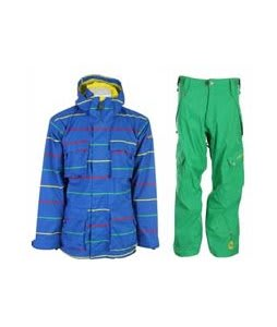 Sessions Replay Jacket Blue Print Pop w/ Sessions Gridlock Pants Turf Green
