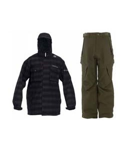 Sessions Team Jacket Black Plaid w/ Sessions Zoom Pants Fatigue Green