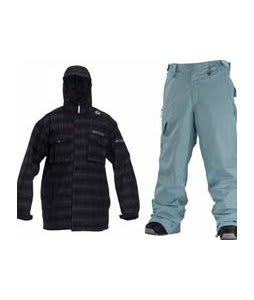 Sessions Team Jacket Black Plaid w/ Special Blend Empire Pants Powday Blue