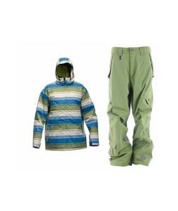 Sessions Truth Retro Stripe Jacket Lime Retro Stripe w/ Sessions Achilles Pants Lime
