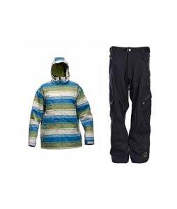 Sessions Truth Retro Stripe Jacket Lime Retro Stripe w/ Sessions Gridlock Pants Black Magic