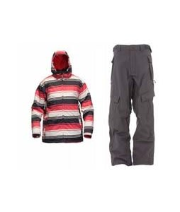 Sessions Truth Retro Stripe Jacket Red Retro Stripe w/ Sessions Cargo Cargo Pants Gunmetal