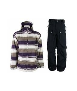 Sessions Truth Retro Stripe Jacket Purple Retro Stripe w/ Sessions Tinker Pants Black Magic