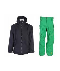 Sessions Work Jacket Black Magic w/ Sessions Gridlock Pants Turf Green