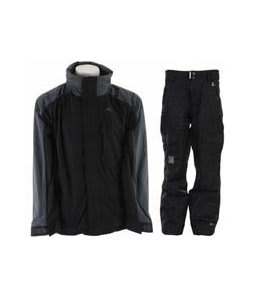 Trespass Robust Jacket Black w/ Ride Belltown Pants Black Diamond Stripe