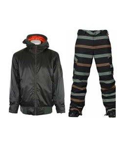 Vans DTL Bomber Jacket Installation Green w/ Burton Cargo Snowboard Pant True Black Bandwidth Stripe Print