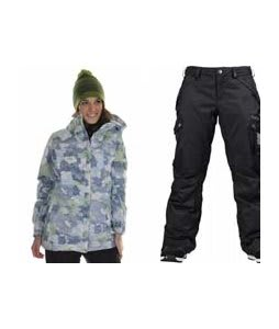 686 Acc Empire Insulated Jacket Sky Print w/ Burton Fly Pants True Black/Dobby