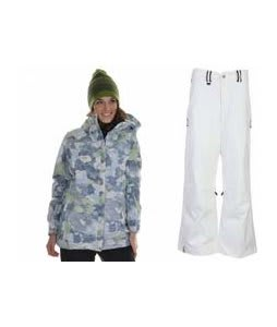 686 Acc Empire Insulated Jacket Sky Print w/ Bonfire Evolution Pants Silk