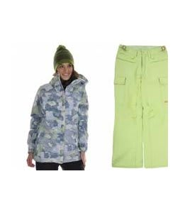 686 Acc Empire Insulated Jacket Sky Print w/ Foursquare Newberry Pants Asparagus