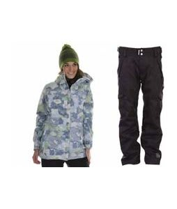 686 Acc Empire Insulated Jacket Sky Print w/ Ride Highland Pants Black