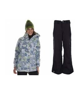686 Acc Empire Insulated Jacket Sky Print w/ Bonfire Evolution Pants Black