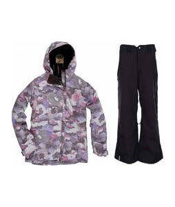 686 Acc Empire Insulated Jacket Orchid Print w/ Bonfire Evolution Pants Black