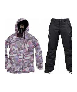 686 Acc Empire Insulated Jacket Orchid Print w/ Burton Fly Pants True Black/Dobby