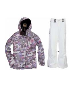 686 Acc Empire Insulated Jacket Orchid Print w/ Bonfire Evolution Pants Silk