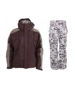 Bonfire Fusion Strobe Jacket Sangria/Slate w/ Burton Fly Pants Shark Pop Camo