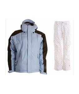 Bonfire Fusion Strobe Jacket Ocean/Leather w/ Burton Lucky Snowboard Pant Multi Polka Squares