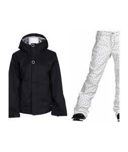 Bonfire Rainier Jacket Black w/ Burton TWC Flared Pants Bright White Dot Print
