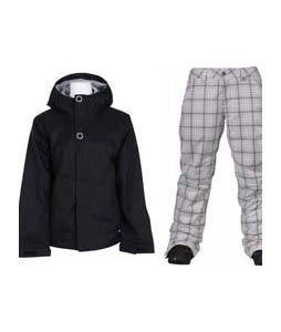 Bonfire Rainier Jacket Black w/ Burton Society Pants Bright White Line Plaid Print