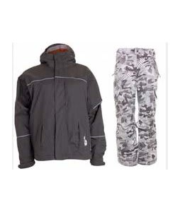 Bonfire Fusion Aura Jacket Graphite w/ Burton Fly Pants Shark Pop Camo