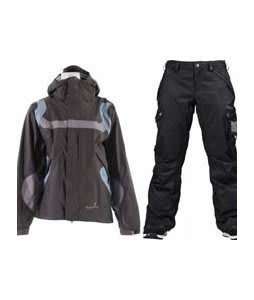 Bonfire Fusion Reflection Jacket Graphite/Ocean w/ Burton Fly Pants True Black/Dobby