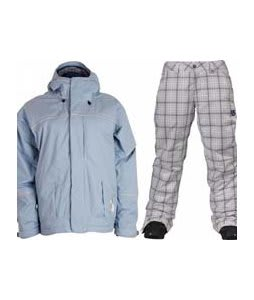 Bonfire Fusion Aura Jacket Ocean w/ Burton Society Pants Bright White Line Plaid Print