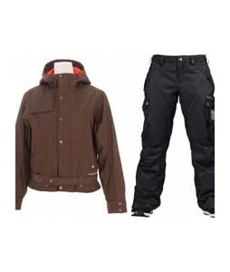 Burton After Hours Jacket Roasted Brown w/ Burton Fly Pants True Black/Dobby