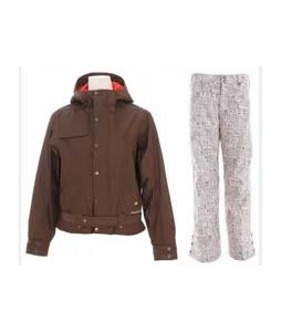 Burton After Hours Jacket Roasted Brown w/ Burton Mighty Snowboard Pant Chestnut Paper Print