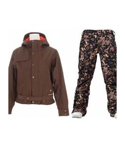 Burton After Hours Jacket Roasted Brown w/ Burton Lucky Pants Digi Floral True Black