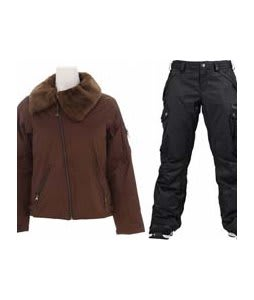 Burton B By Burton Roosevelt Bomber Jacket Roasted Brown w/ Burton Fly Pants True Black/Dobby